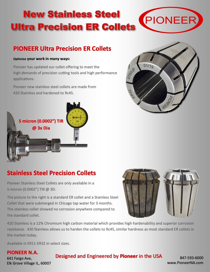 Pioneer Premium Stainless ER Collets